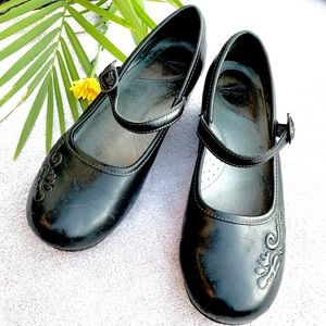Dansko Black Mary Jane Clogs with Embroidery